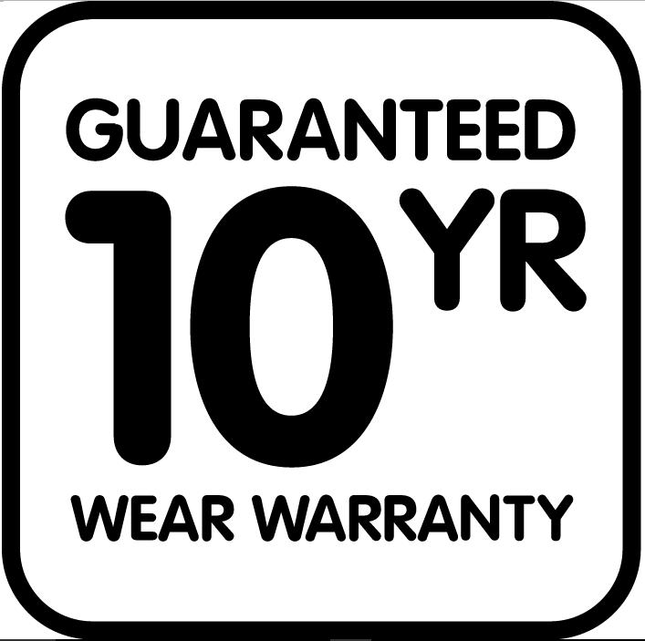 guaranteed 10 year wear warranty
